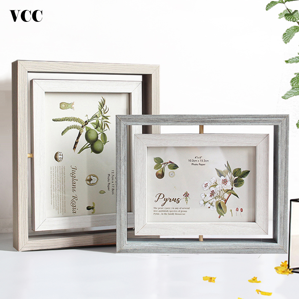 Rotate Wood Photo Frame,Picture Frame Art,Nordic 10X15 13X18cm Poster Frame For Tabletop Decoration,Painting Frame image