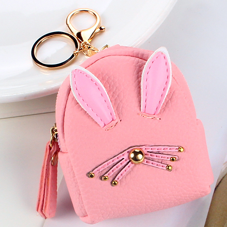 Women Wallets Lady Mini Purse Bags Zipper Buckle Coin Purse Pocket Girl Money Cards Keys Bag Woman Keychain Rabbit Rivets Wallet