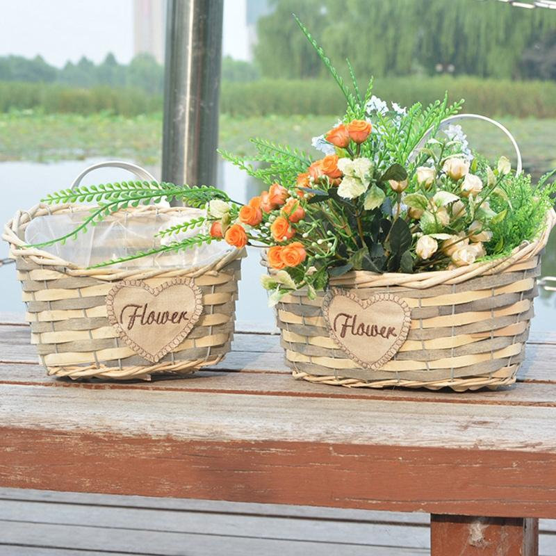 AsyPets Pastoral Style Handmade Braided Flower Basket Flowerpot Home Garden Decoration-30