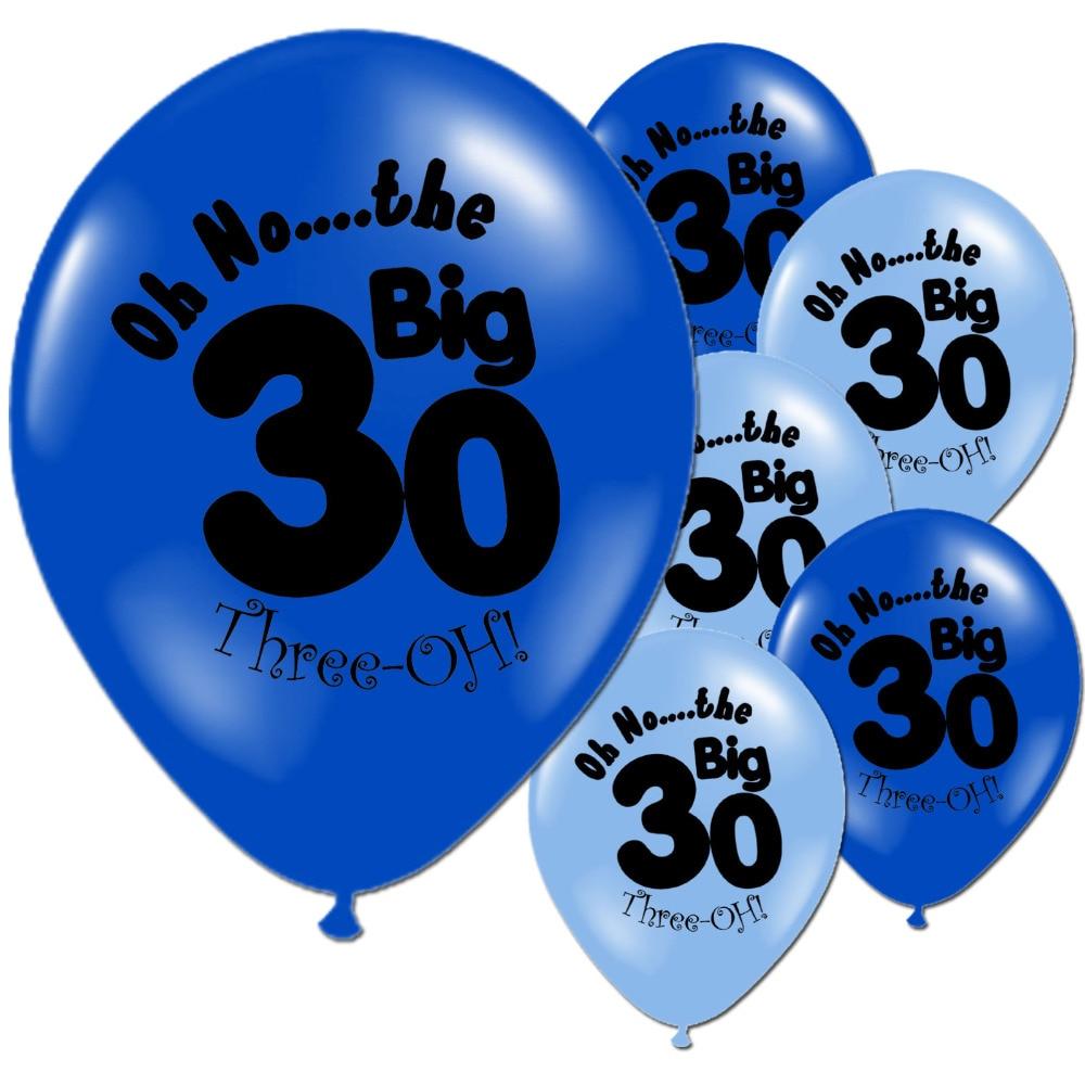 10PCS Light Dark Blue 30th Birthday Party 10 Inch Happy