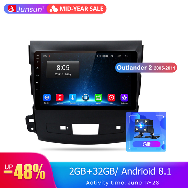 Junsun 2G+32G Android 8.1 4G Car Radio Multimedia Player Navigation GPS For Mitsubishi Outlander xl 2 2005-2011 2 din no DVD
