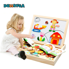 DIY Wooden Magnetic Sticker Blocks Early Childhood Educational Toys Cartoon Character Enlightenment Gift For Kids DOLLRYGA