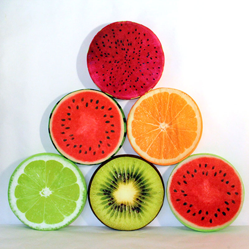 LREA 30cm 3D Fruit  Seat Cushion Round Pillow Creative Home Decor Novelty  Sofa Throw