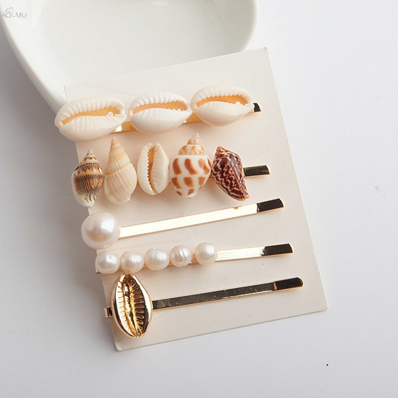AOMU-5pcs-Women-Fashion-Imitiation-Pearl-Shell-Hairpins-Hair-Clips-Summer-Beach-Hairgrip-Hair-Accessories