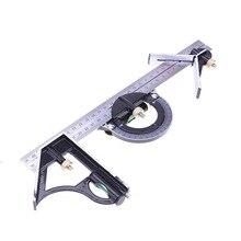 Горячая-3 в 1 регулируемая линейка мульти комбинация квадратный угол искатель транспортир 300 мм/12 дюймов Измерительный набор Инструменты универсальная линейка с уровнем