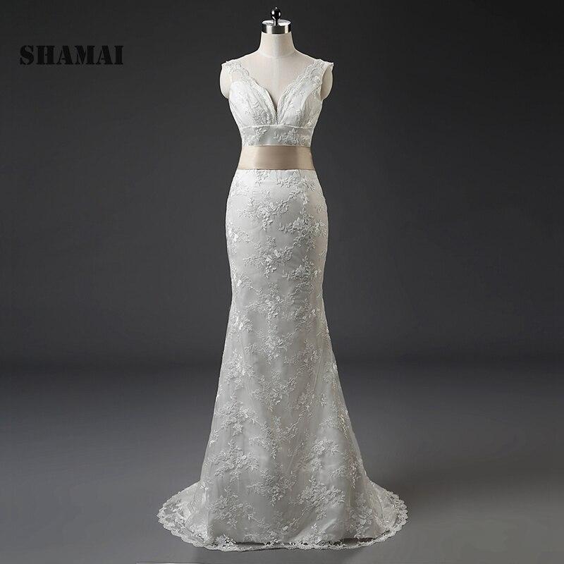 SHAMAI In Stock Hot Sale V-Neck Zipper Back Mermaid lace Wedding Dresses With Sweep Train