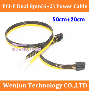 20PCS PCI-E PCIe PCI Express Dual 8Pin(6+2) Power Supply Cable 50CM+20CM for DELL 1950 2950 PE6850 Module PSU Cord 8pin+8pin