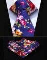"""Festa de Casamento Clássico Quadrado Bolso Gravata TMP401V8S Azul Vermelho Rosa Floral 3.4 """"Algodão Estampado Homens Gravata conjunto Lenço"""