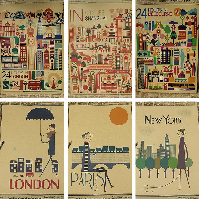 Cosy Moment Minimalist City London New York Paris Retro Kraft Paper Poster Bar Cafe Home Decor