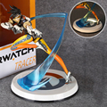 Pop OW Over Watch Lena Oxton Action Figure Tracer with Light Upgraded Version 25cm PVC Collection Doll Model Toys for Children