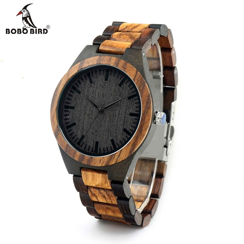 BOBO BIRD CdD30 Round Vintage Zebra Wood Case Men Watch Black Wood Face With Two Colors