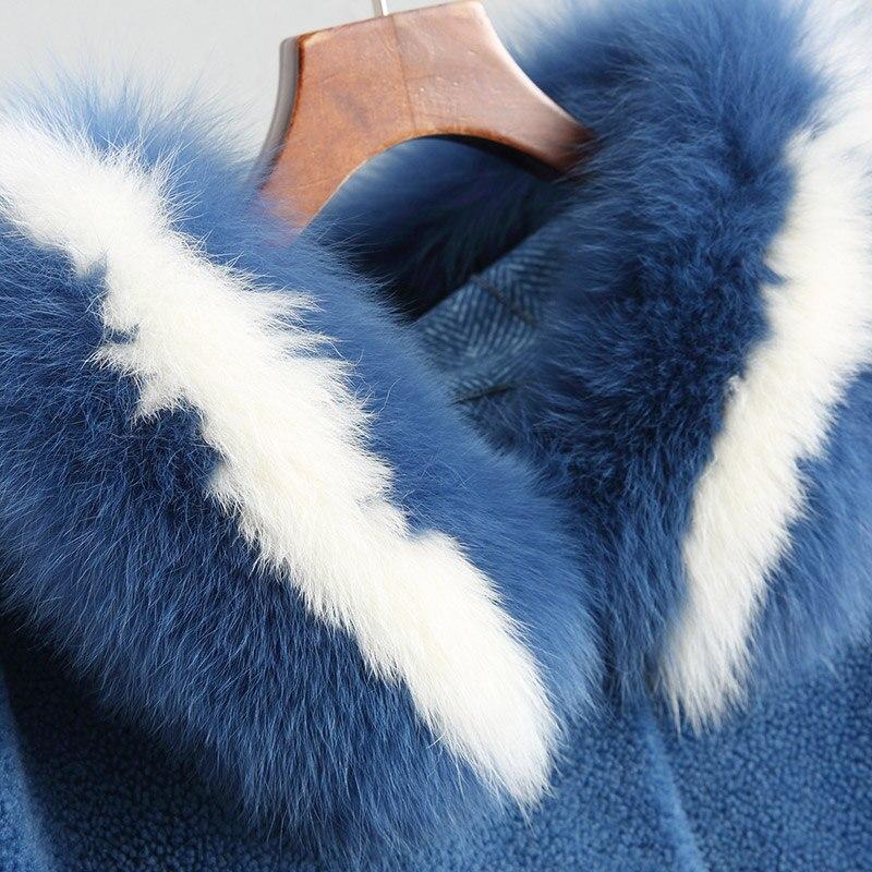De Fourrure Mint Survêtement D'hiver Veste Laine Green 2018 camel Royal Femmes Manteau Wyq1874 18052 Renard Ayunsue Col bleu Femelle Naturel Réel Mouton Txn6qqt