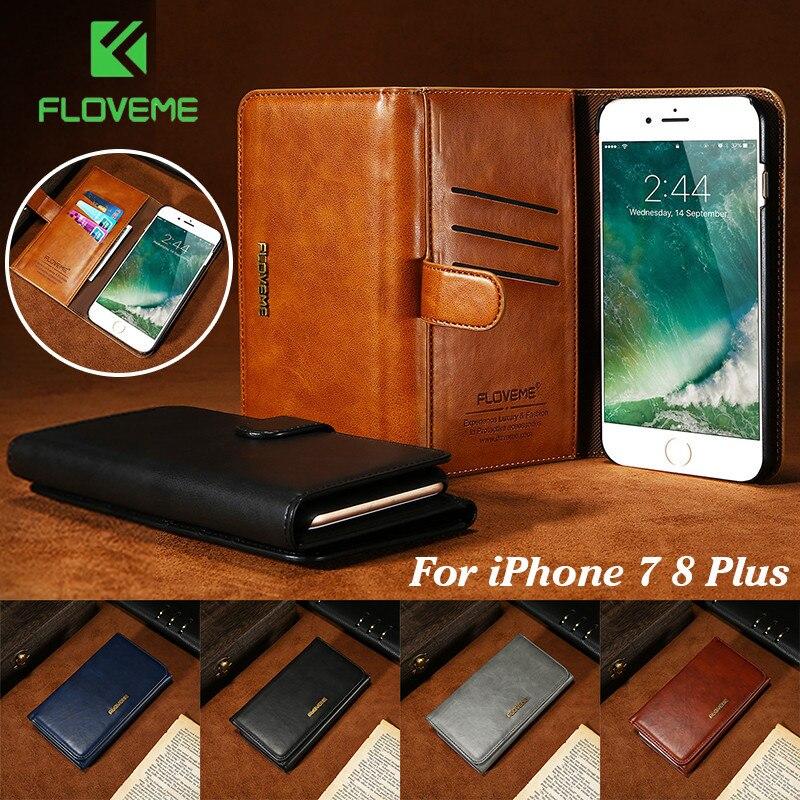 Floveme кожаный чехол для iPhone 7 8 плюс роскошный съемная 2 в 1 Флип держатель карты бумажник сумка Обложка для apple iPhone 7 Plus