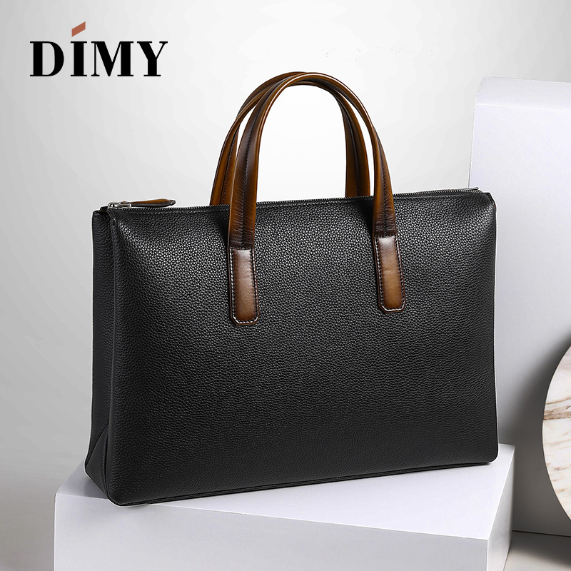 2019 Newest Trend Men's Handbag Business Briefcase Togo Lychee Layer Cowhide Leather 14 Inch Laptop Bag Dimy Man Christmas Gifts