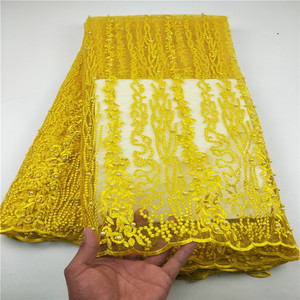 Image 2 - New Designs African French Lace Fabric High Quality Nigeria african French Net Lace 2019 With Stone and Beaded For Women CHYF19