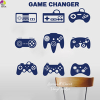 Gamer Wall Sticker Boy Room Video Game Controllers Wall Decal Bedroom Man Cave Birthday Gift Vinyl