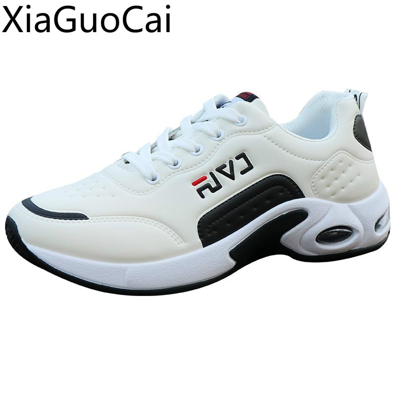 High Quality Solid Lace Up Mens Casual Sneakers Leather Spring And Summer Male Casual Shoes Low Top Mens Flat Shoes