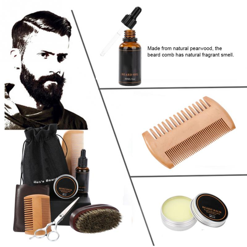 Men's Beard Styling Shaping Mustache Hair Care Tool Beard Styling Beard Comb Balm Oil Grooming Set Mustache Hair Care Tool Kits 4