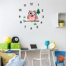 Горячая 3D наклейка в виде настенных часов Красочные Сова маятник тихие часы для детей Дети наклейка на стену в комнату украшение дома подарок