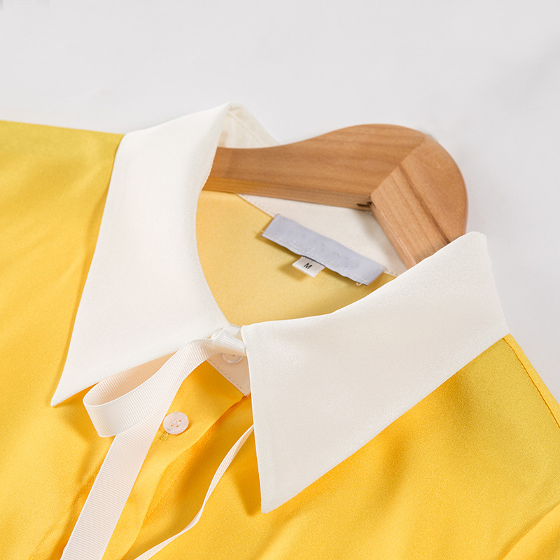 amarillo Imprimir Slim Manga Moda Turn Azul Arco Collar Primavera down De Calidad Camisas 2018 Nueva Lindo Mujeres Gatos Alta Completa Femeninas PqnInRxa