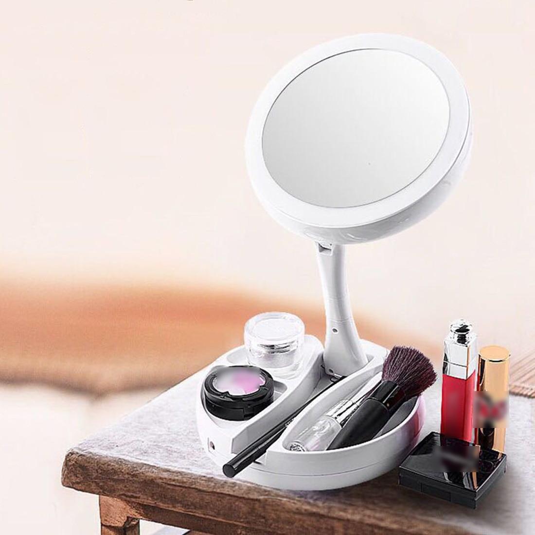 Schminkspiegel Suche Nach FlüGen 16 Leds Mit Licht-touchscreen Make-up Spiegel/weiß/10x Vergrößerungs/faltbare Tragbare Led Beleuchtete Make-up Eitelkeit Kompakte Spiegel