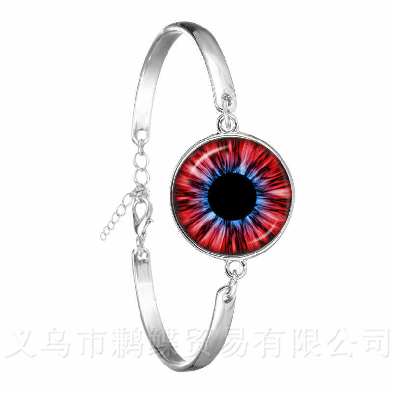 Очаровательные зеленые глаза браслет evil Eye Красивые Животные Дракон кошачий глаз 18 мм стекло, кабошон, серебро покрытием браслет лучший подарок