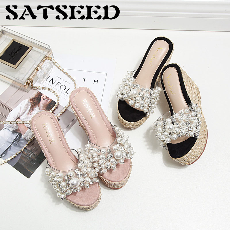 2018 summer new fashion wedge sandals slippers handmade pearl crystal high-heeled female slippers waugh e put out more flags