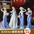 1 ШТ. Специальное предложение Европейский западная женщина Домашнего Интерьера безделушек фигурам керамика оформленный свадебный подарок