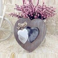 Modren Personalized Photo Frame Wooden Wedding Couple Pictures Frames Creative Heart Shape Porta Retrato Romantic Cadre