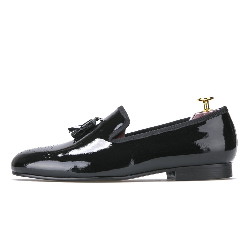 Black Patent Leather Men Dress Shoes with Tassel Men Loafers Men Flats chaussure homme men dress shoes leather
