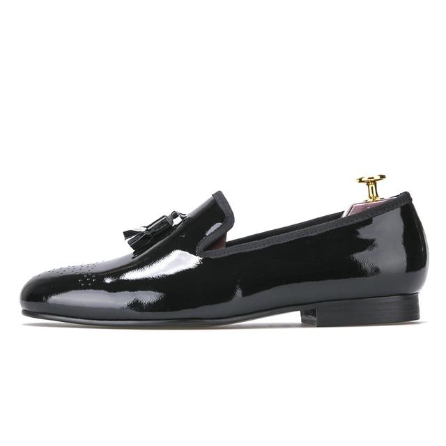 d60e69d7e7 Zapatos de vestir negros de charol para hombre con borla mocasines para  hombre zapatos planos chussure