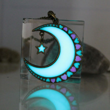 ФОТО 2017 new glowing moon necklace moon and stars necklace glow in the dark luminous love heart pendants necklaces women girls gift