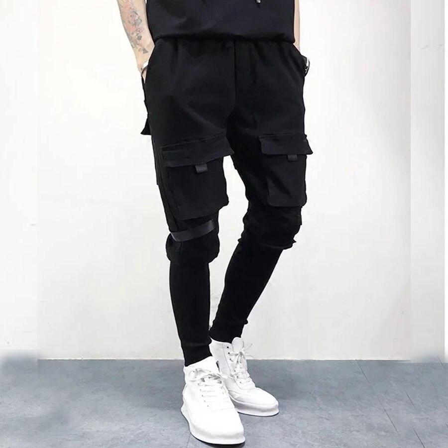 Plus Poches Mens Nouvelle Mode Patchwork Pantalon Cargo Harem Joggeurs Occasionnels Hip Hop Hommes Streetwear de Survêtement Pleine Longueur Pantalon