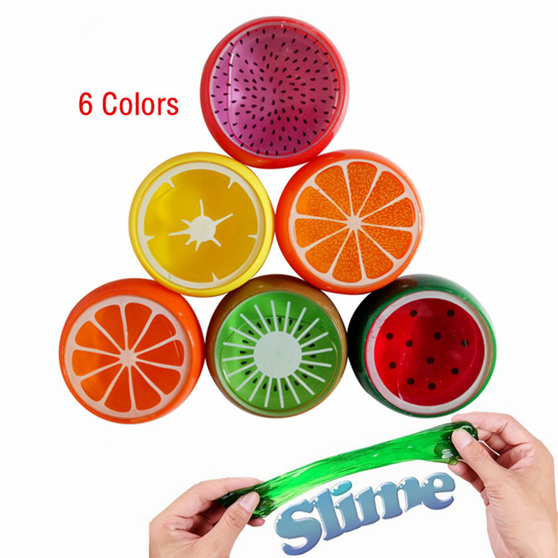 DIY Magic Crystal Slime Putty Polymer Clay Toy Soft Rubber Fruit Slime for Kids Intelligent Hand Plasticine Mud Playdough Gift