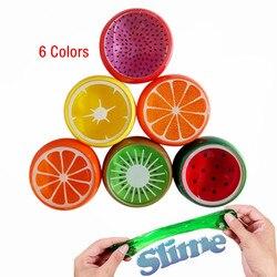 DIY cristal mágico limo masilla de arcilla de polímero juguete de goma suave fruta limo para niños inteligente mano plastilina barro plastilina regalo