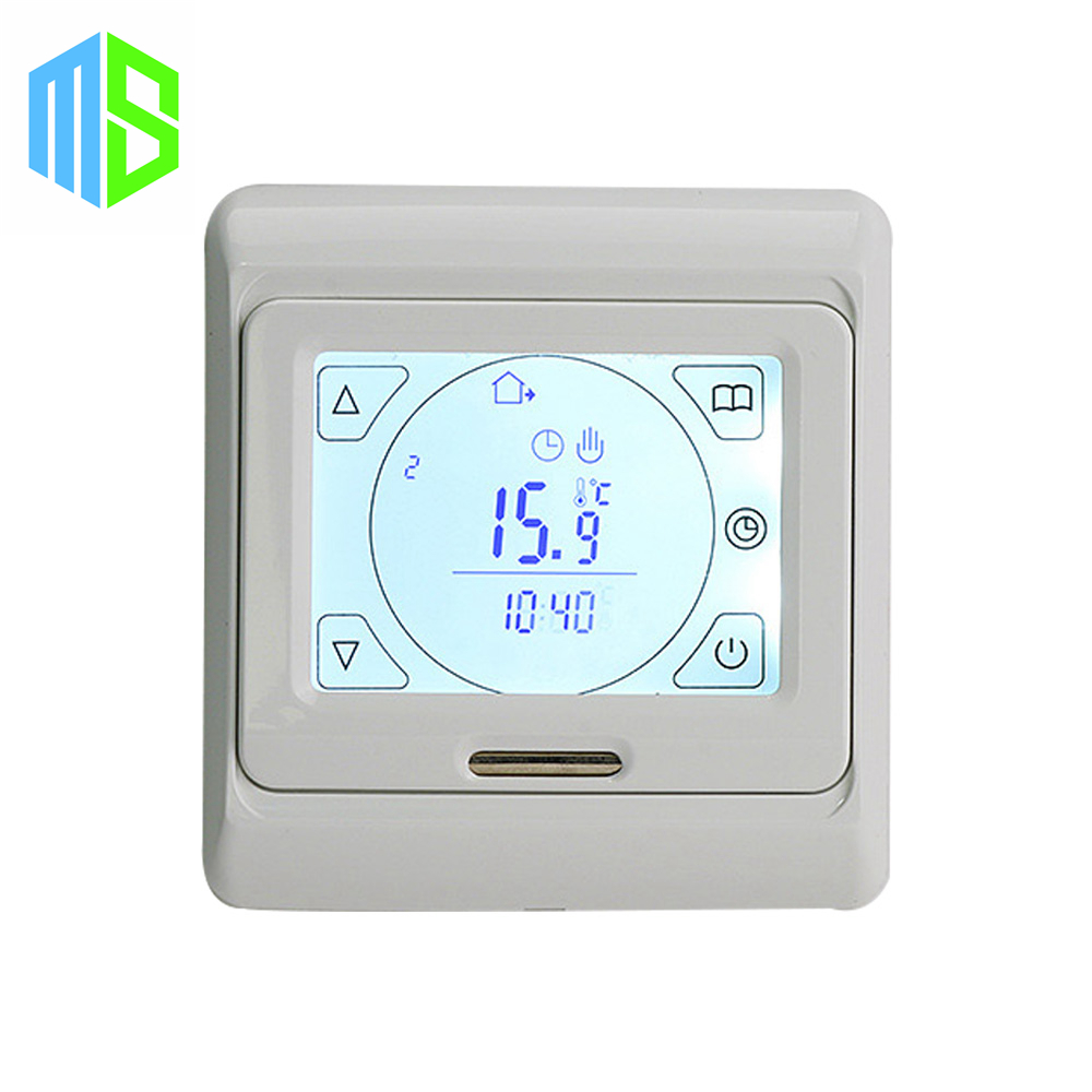 ФОТО 220V 16A LCD programmable digital room floor heating thermostat touch screen temperature controller warming floor thermocouple