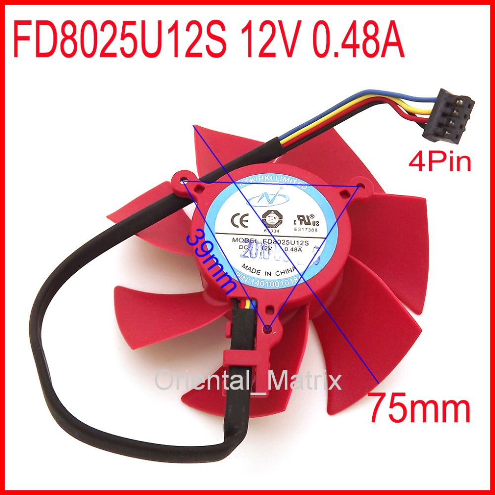 NTK FD8025U12S 12V 0.48A 75mm 39x39x39mm XFX HD5870 HD5850 Graphics Card Cooling Fan 4Pin 4Wire 4pin mgt8012yr w20 graphics card fan vga cooler for xfx gts250 gs 250x ydf5 gts260 video card cooling
