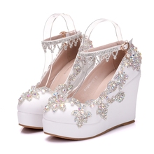 New Fashion Rhinestone Wedge Pumps Shoes Women Sweet Luxury Platform Wedges Shoes Wedding Party Ankle Strap High Heels XY-A0016 стоимость