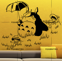 Hayao miyazaki totoro series of hand-painted umbrellas totoro TV setting wall stickers anime curtilage