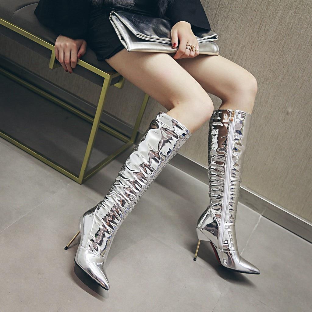 Rodilla Botas 43 Del Tamaño Zapatos Talón Sexy El Fiesta Zip Estrecha Alto Las Mujeres Más Estilete 33 Plata Punta Elissara De Para q7BRwOx