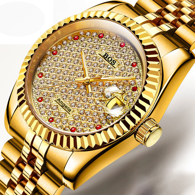 ANGELA BOS Brand Men's Luxury Diamond Stainless Steel Waterproof Watches Men's Automatic Machinery Sapphire Glow Gold Watch