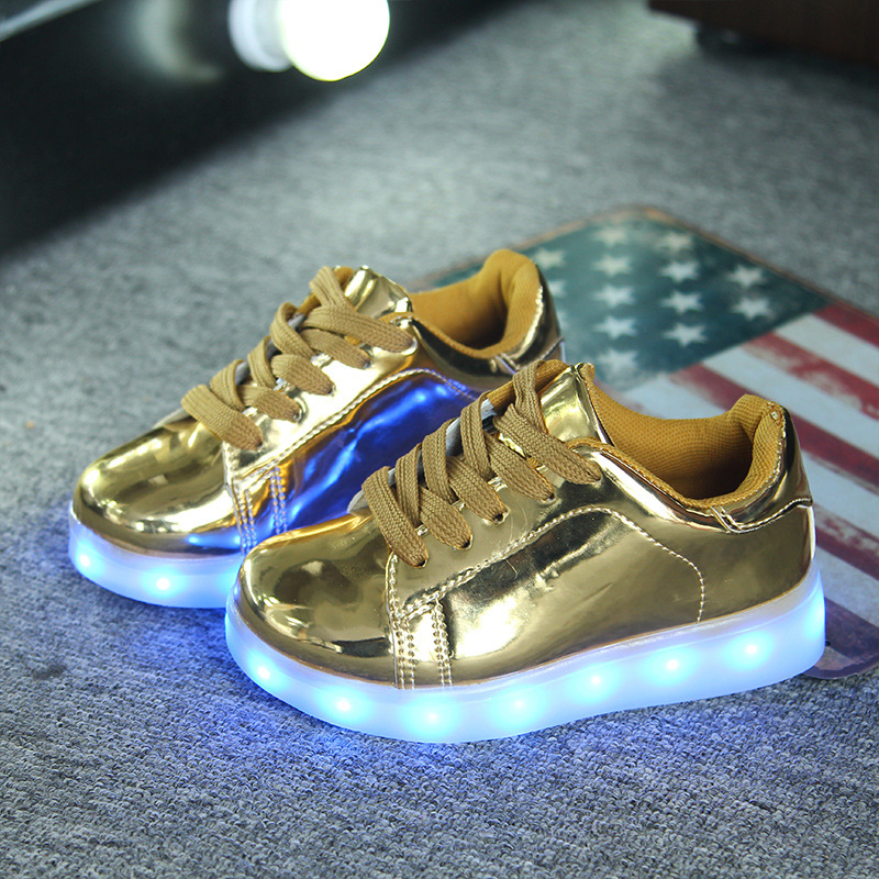 New Usb Charger Luminous Shoes Children Lace Colorful Led Light Fashion Sneakers Boys Girls Party Show Night Glowing Shoes 0509g 25 40 size usb charging basket led children shoes with light up kids casual boys