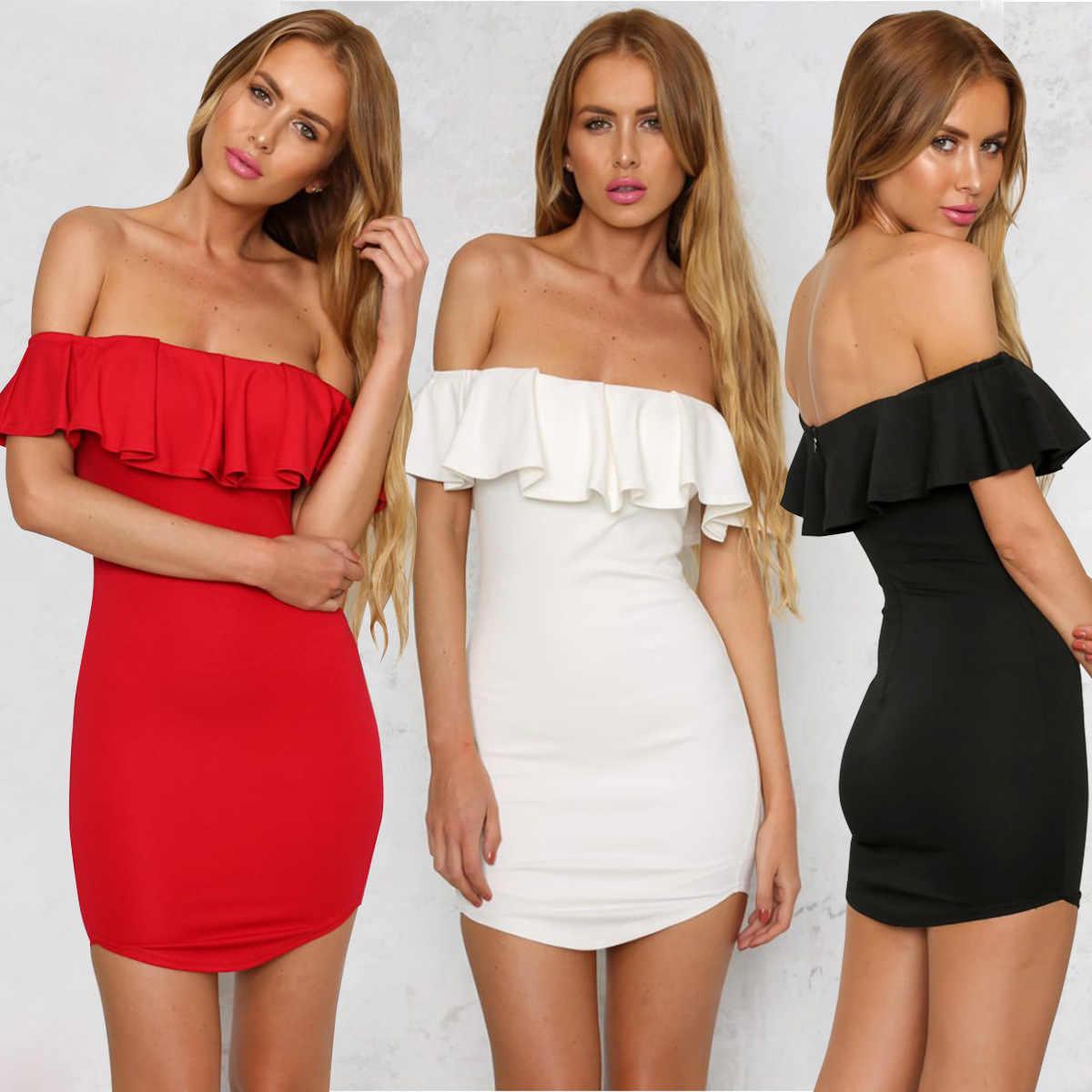Noir, blanc et rouge bosoms, volants, slim, slim et sexy robes sexy soirée boîte de nuit 2019 maxi pour les femmes élégant Slash cou