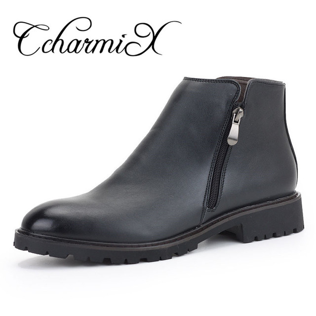 CcharmiX Men Chelsea Boots Black Spring Winter Waterproof Fashion Ankle Boots Casual Mens Leather Pointed Toe Botas Warm Shoes
