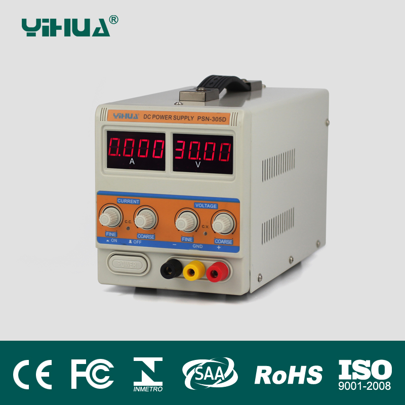YIHUA PSN-305D 30V 5A Switching Regulated Adjustable Digital DC Power Supply SMPS 110V 220V EU US PLUG qj3005p 30v 5a highly accurate adjustable digital dc regulated power supply remote control via pc dc jack eu us au plug