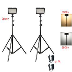 Photo Studio LED Video Light 2 pieces 130 LED Dimmable LED Video Light + 2x Light Stand +2x AC Adapter for Camera Photo