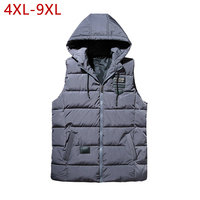 Thick Cotton Plus Size Vest Male Casual 2019 Gray Hooded Windbreaker Warm Winter Autumn Travel Sleeveless Jacket Waistcoat Men