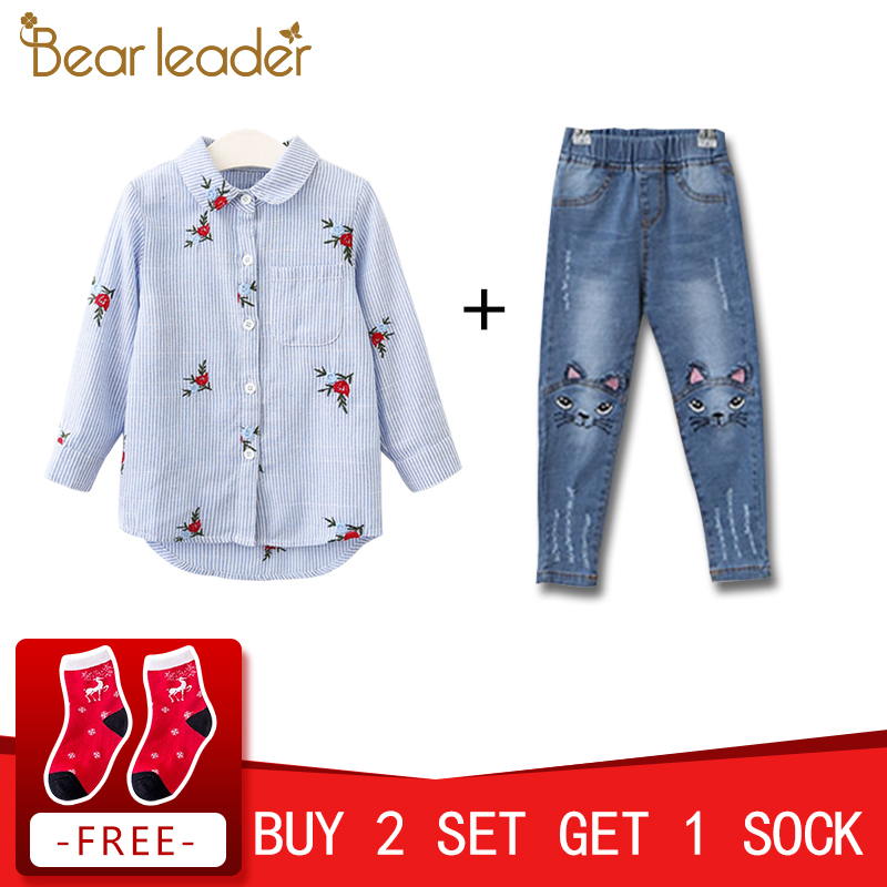 Bear Leader Girls Shirts 2018 New Spring Brand Baby Girls Blouse Red Flowers Embroidery Strip Kids Shirts Children Clothing цена 2017