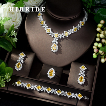 HIBRIDE Hot-Sale AAA Cubic Zirconia Necklace Bracelet Earrings and Ring 4pcs Dubai Full Jewelry Set for Women Party Gift N-327