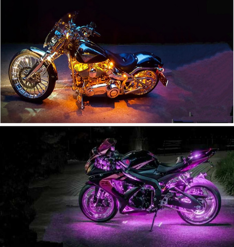 12 RGB Music Control Wireless Remote LED Car Motorcycle Light Atmosphere Lamp with Smart Brake Light Accent Neon Style Light Kit